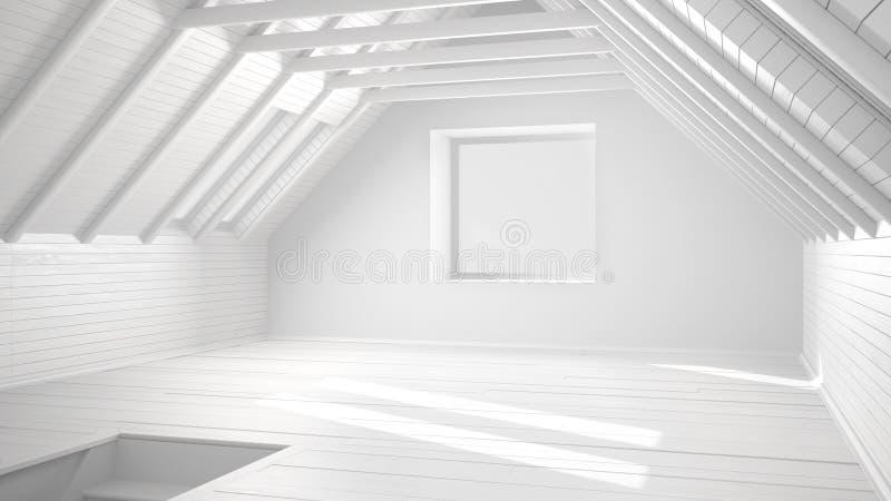 Progetto bianco totale di stanza vuota, sottotetto, soffitta, parquet f di legno illustrazione di stock