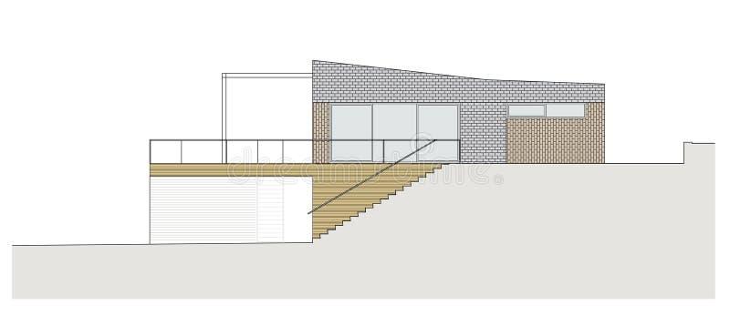Progetto della casa unifamiliare illustrazione di stock for Casa unifamiliare tradizionale