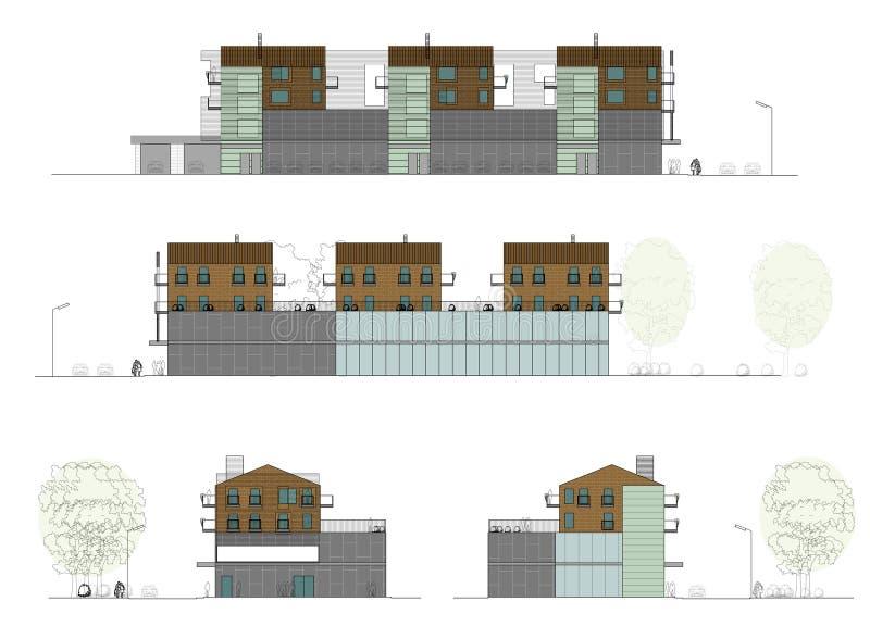 Progetto della casa vivente con un negozio royalty illustrazione gratis