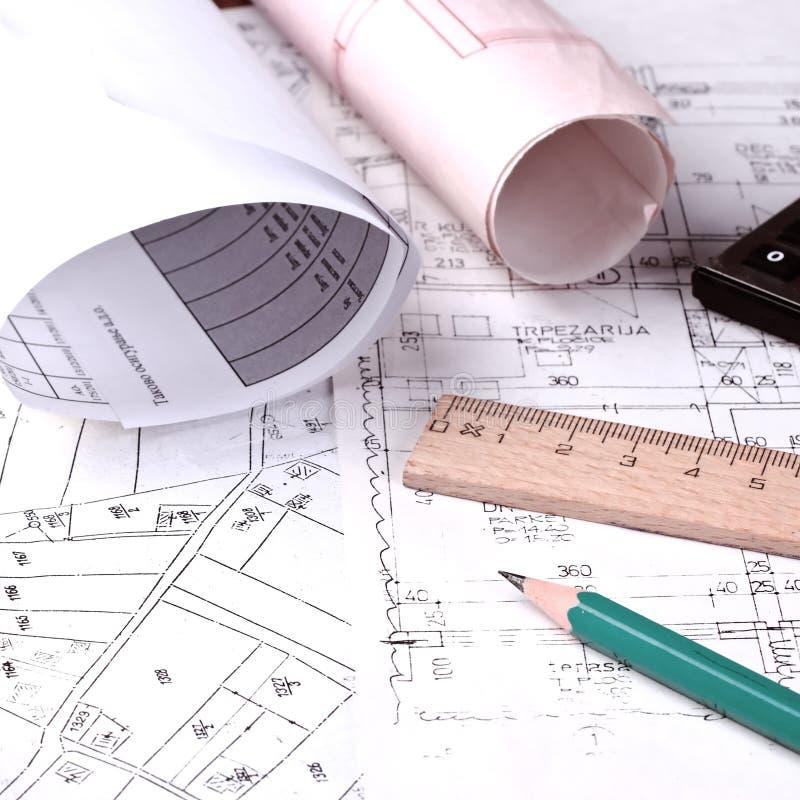 Progetto di architettura a documento fotografia stock
