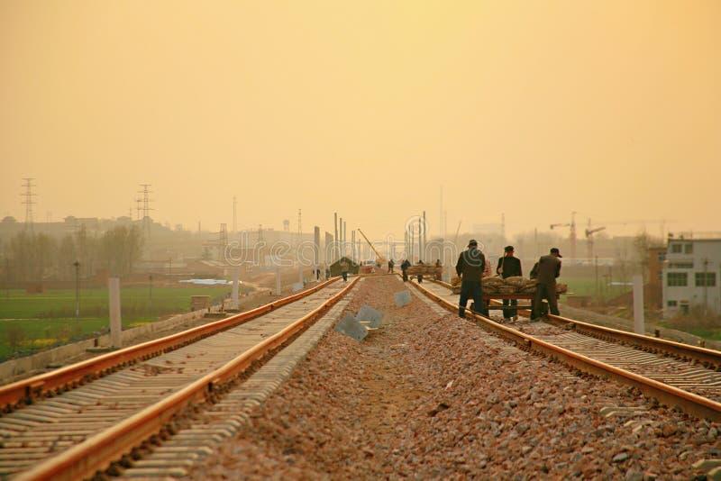 Progetto di costruzione della stazione ferroviaria di Luoyang LongMen nella ferrovia di alta velocità di Zhengxi immagine stock libera da diritti