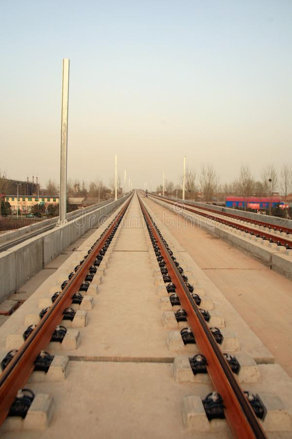 Progetto di costruzione della stazione ferroviaria di Luoyang LongMen nella ferrovia di alta velocità di Zhengxi immagini stock