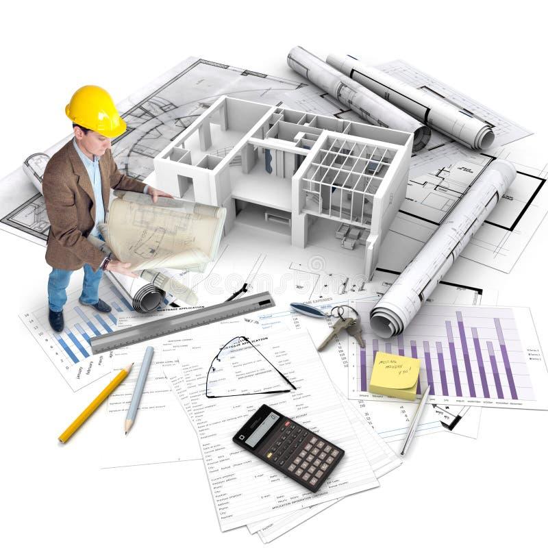Progetto di costruzione, vista generale fotografia stock