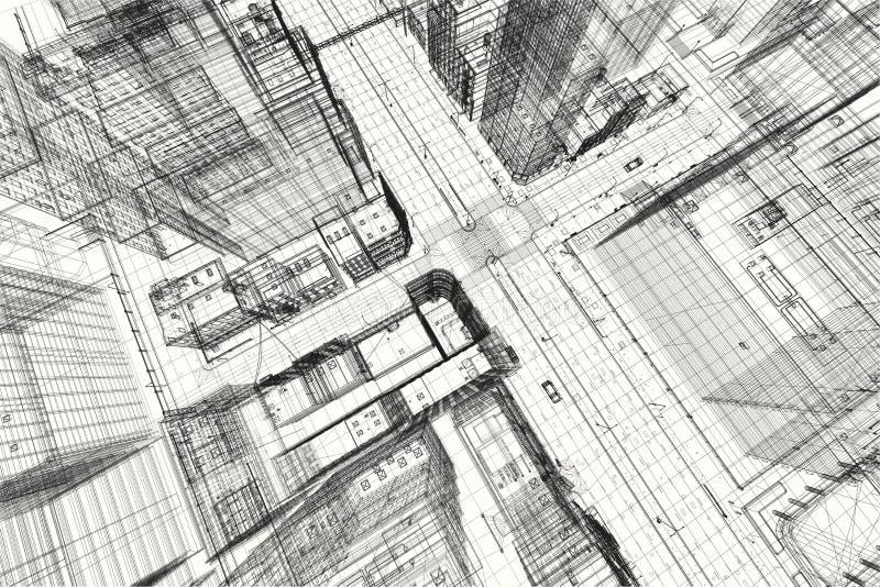 Progetto di costruzioni della città, stampa del wireframe 3d, piano urbano Architettura illustrazione vettoriale