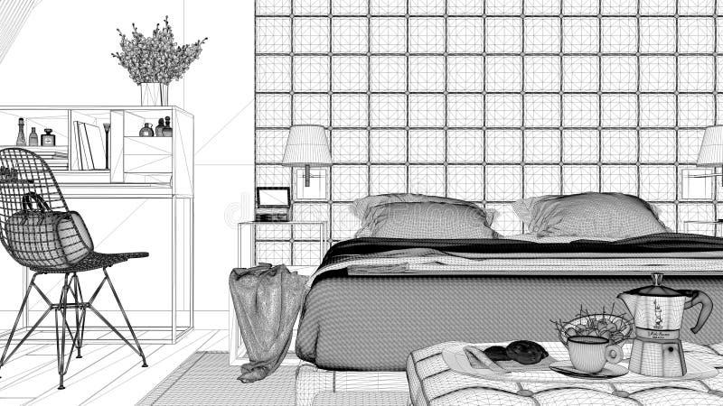 Progetto di interior design, schizzo in bianco e nero dell'inchiostro, modello di architettura che mostra camera da letto contemp illustrazione di stock