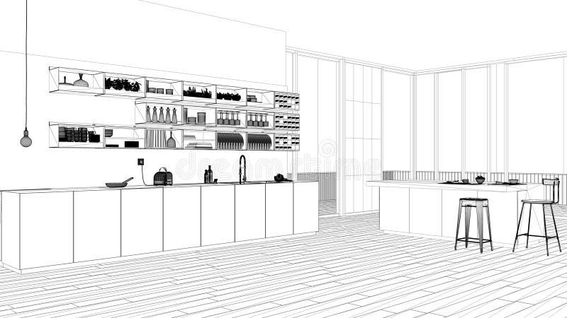 Progetto di interior design, schizzo in bianco e nero dell'inchiostro, modello di architettura che mostra cucina bianca con i gab royalty illustrazione gratis