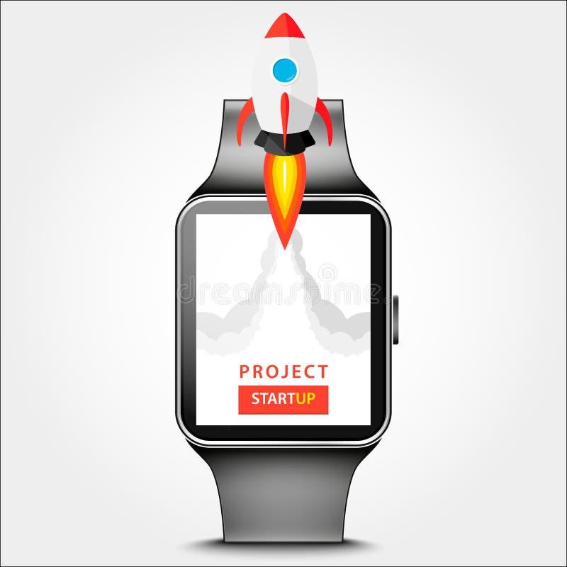 Progetto di lancio di app sul concetto astuto del desktop dell'orologio Mosca di Rocket dal monitor Avvii su, idea di affari isol fotografia stock libera da diritti