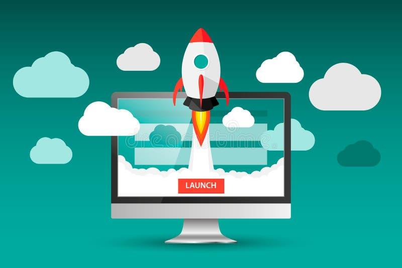 Progetto di lancio di app sul concetto del desktop computer Mosca di Rocket dal monitor Avvii su, idea di affari isolata su bianc royalty illustrazione gratis