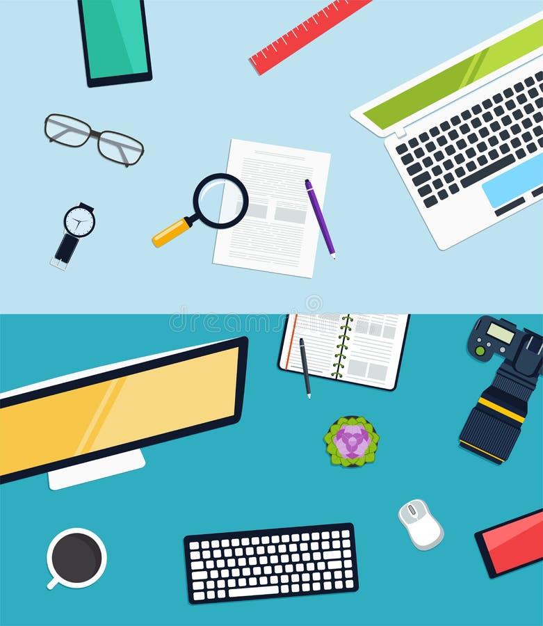 Progetto di luoghi di lavoro creativo Concetto dei mobili d'ufficio, icone messe ed oggetti illustrazione di stock