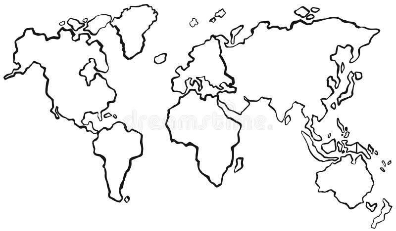 Progetto di worldmap senza colore illustrazione di stock
