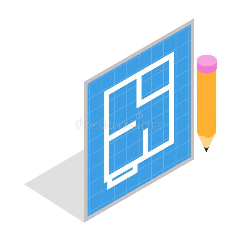 Progetto ed icona piani della matita, stile isometrico 3d illustrazione vettoriale