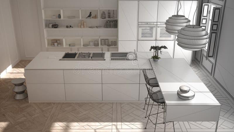 Progetto non finito della mobilia moderna della cucina nella stanza classica, vecchio parquet, interior design minimalista di arc immagini stock