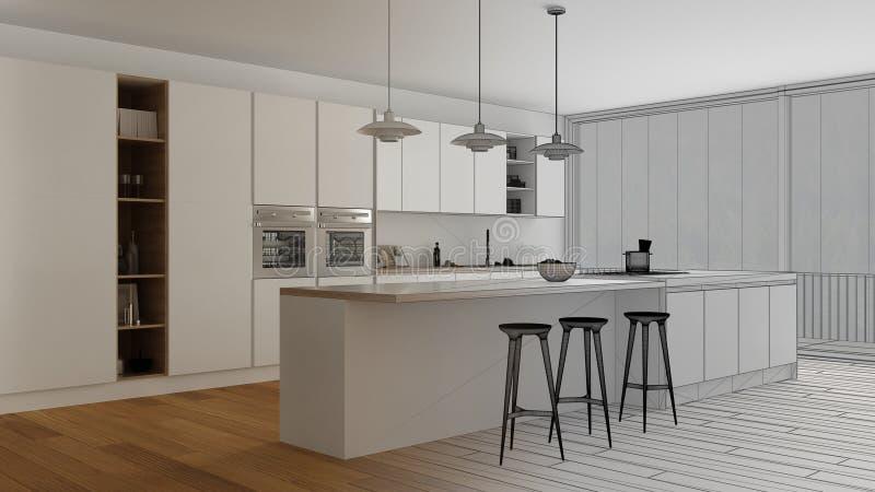 Cucina con la grande finestra panoramica foto stock for Progetto cucina online gratis