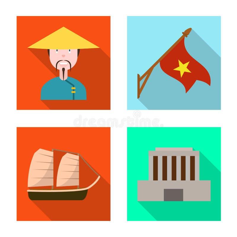 Progetto vettoriale del vietnam e segno tradizionale Insieme di vietnam e illustrazione vettoriale dello stock di coltura illustrazione di stock