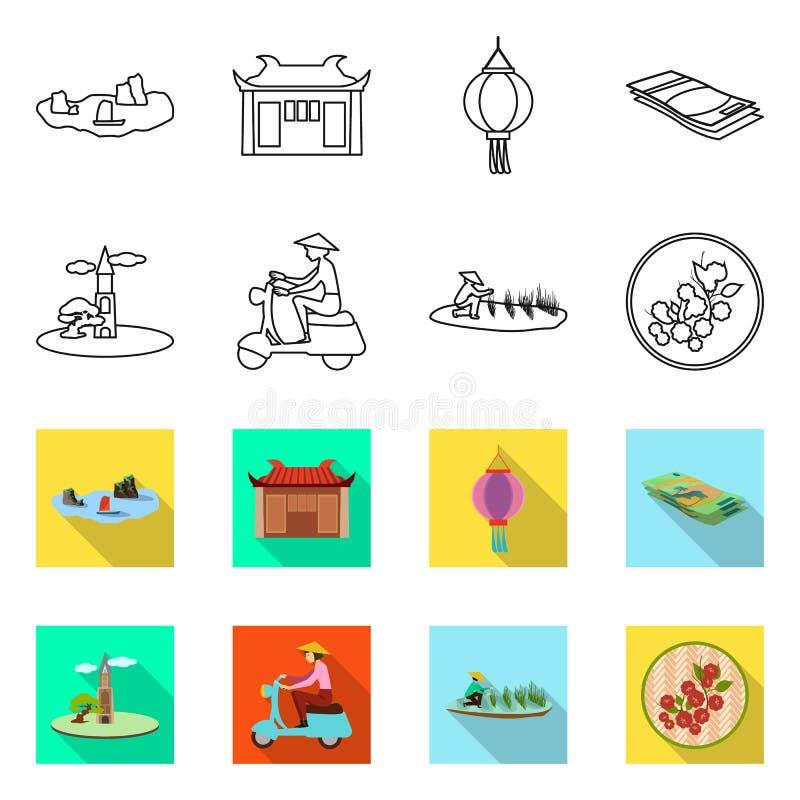 Progetto vettoriale del vietnam e simbolo tradizionale Set di vietnam e simboli di coltura per il Web illustrazione vettoriale