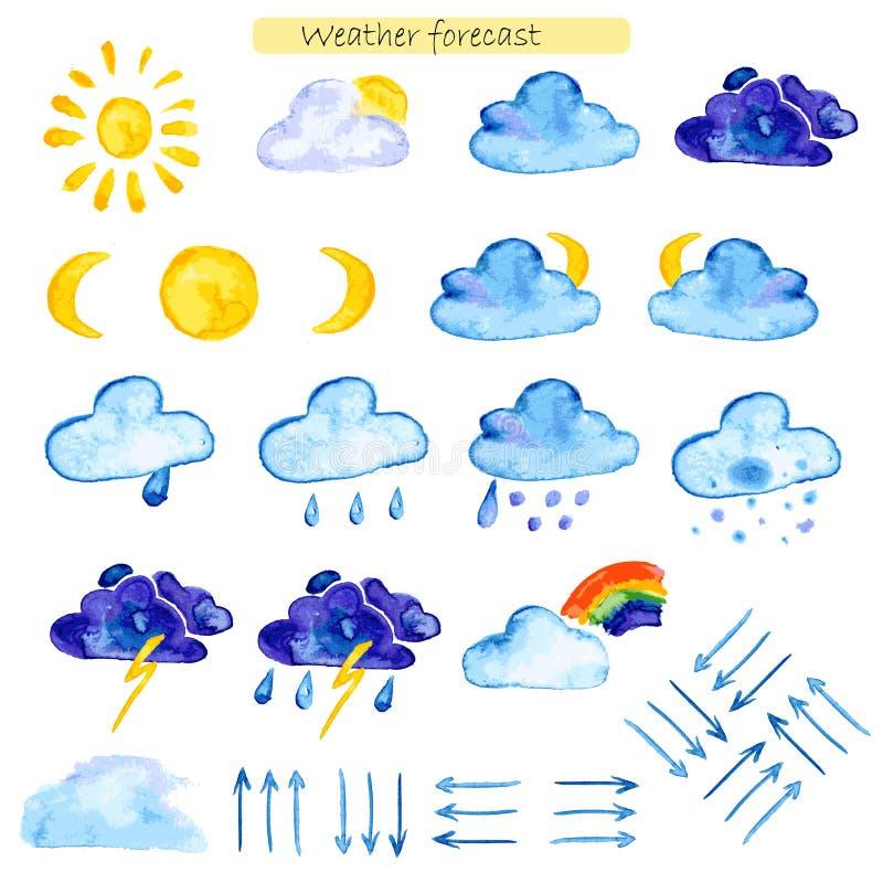 Prognos för vattenfärgsymbolsväder stock illustrationer