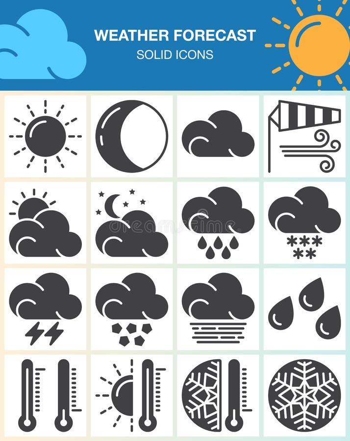 Prognoz pogody wektorowe ikony ustawiać, nowożytna stała symbol kolekcja, wypełniająca piktogram paczka odizolowywająca na bielu ilustracja wektor