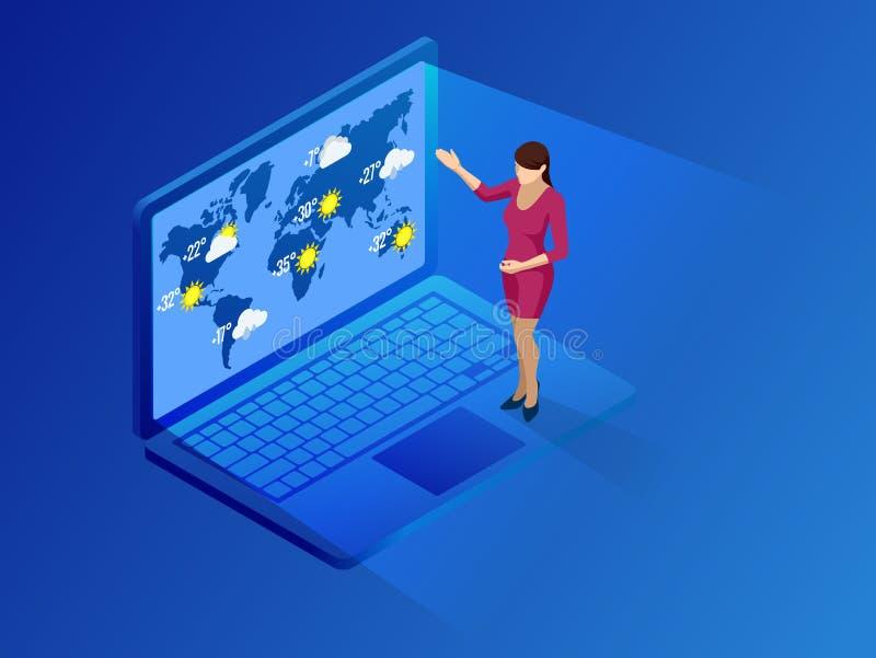 Prognoza pogody app Isometric laptopu ekran Pogodowy App Z ikonami projekta elementu ilustracja ilustracji