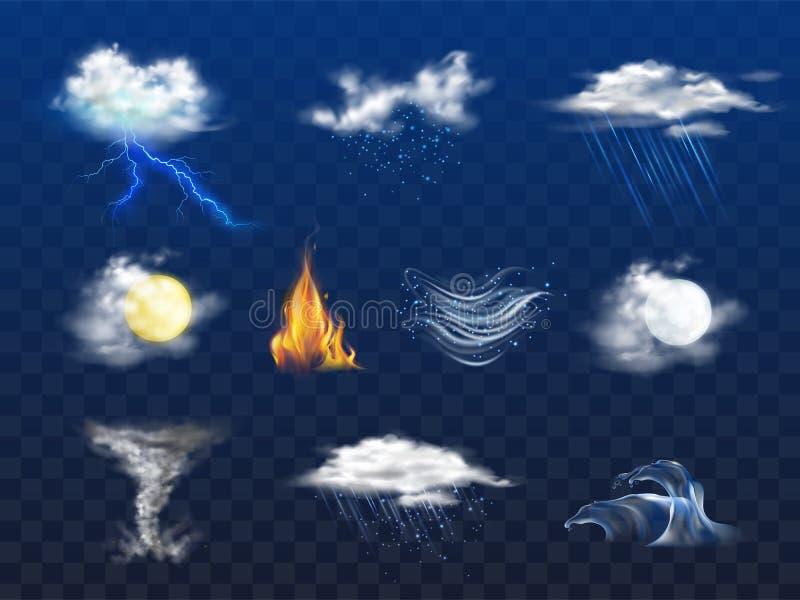 Prognoza pogody 3d realistyczne ikony inkasowe royalty ilustracja