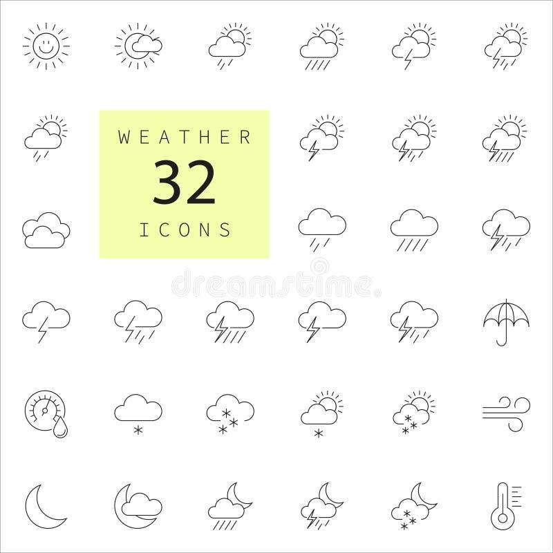 Prognoza pogody - kontur sieci ikony set obraz stock