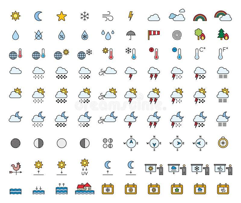 Prognoza Pogody & meteorologie wypełniać kreskowe ikony obrazy royalty free