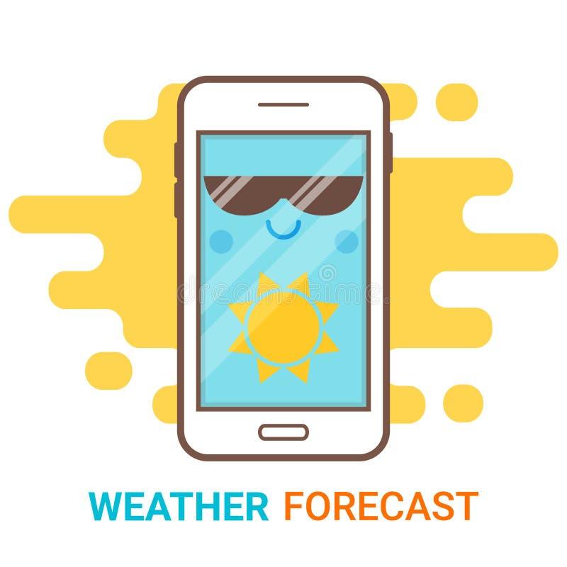 Prognoza pogody w smartphone Kreskówka szczęśliwy telefon z słońce ikoną app i dużą okulary przeciwsłoneczni wiszącą ozdobą, widg ilustracji