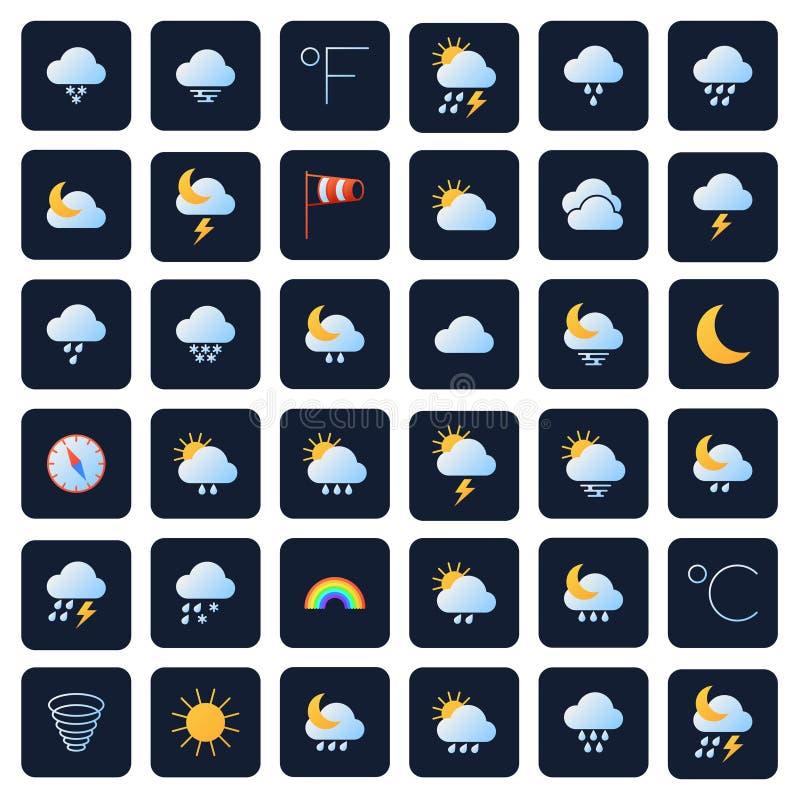 Prognoza pogody wektoru ikony Klimatu i meteo symbole royalty ilustracja