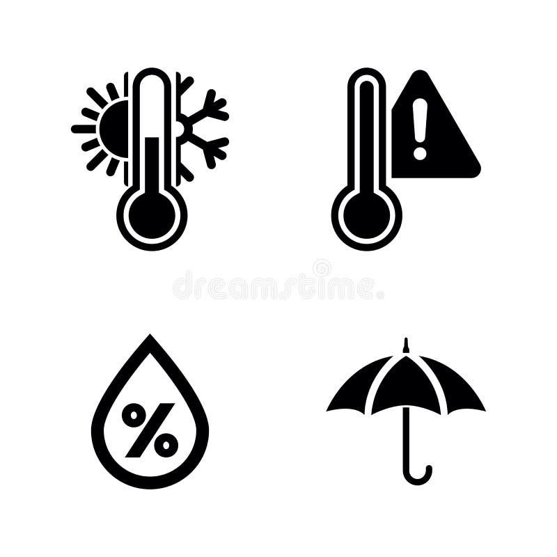 Prognozy pogoda Proste Powiązane Wektorowe ikony ilustracji