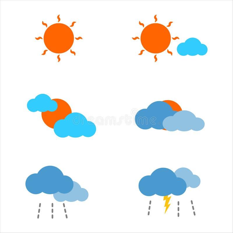 Prognozy pogody ikony płaski klimat, słońce, chmura, deszcz i rygiel, ilustracji