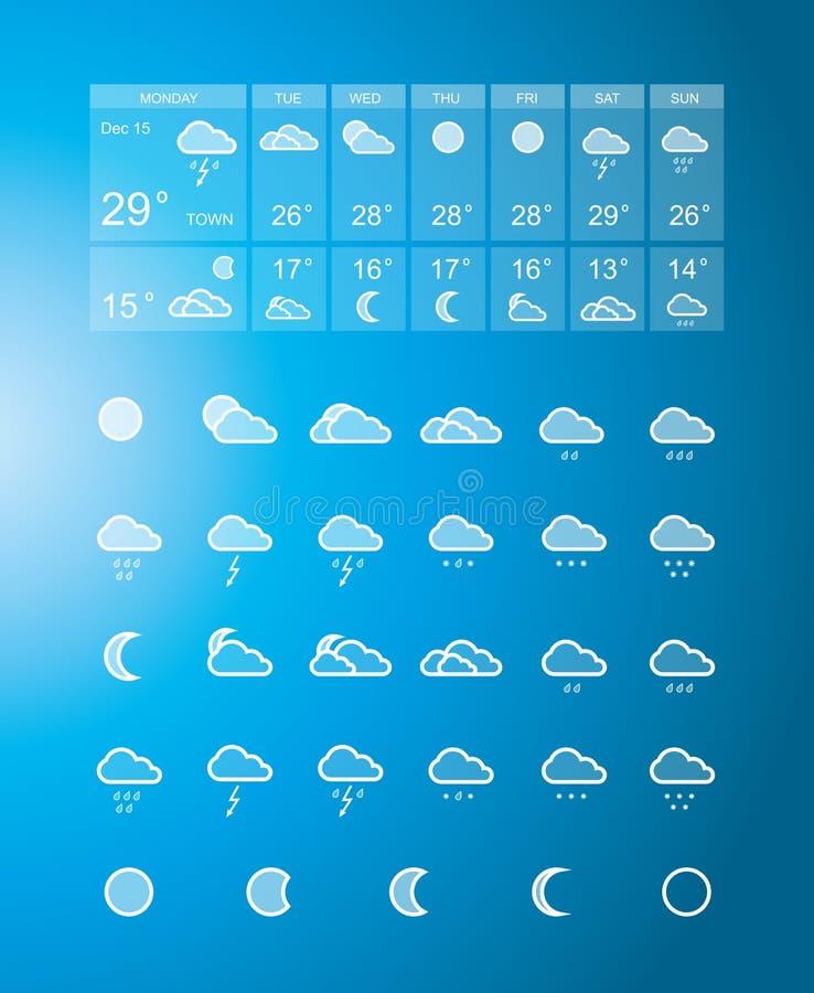 Prognozy pogody ikony set ilustracja wektor