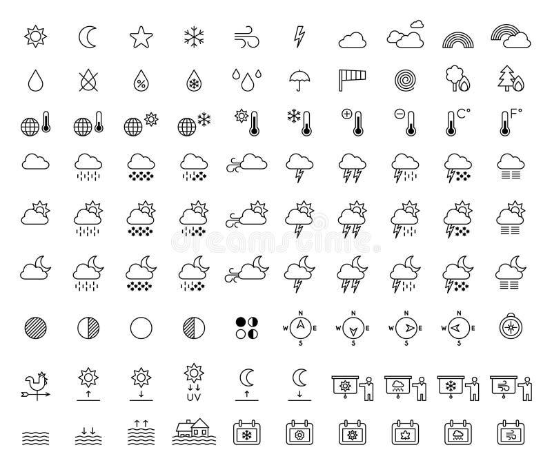 Prognozy Pogody & meteorologii konturu ikony obrazy royalty free