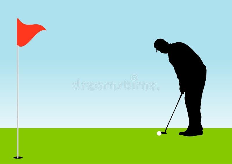 Progolfspieler auf dem Grün ungefähr, zum eines Golfballs zu putten lizenzfreie abbildung