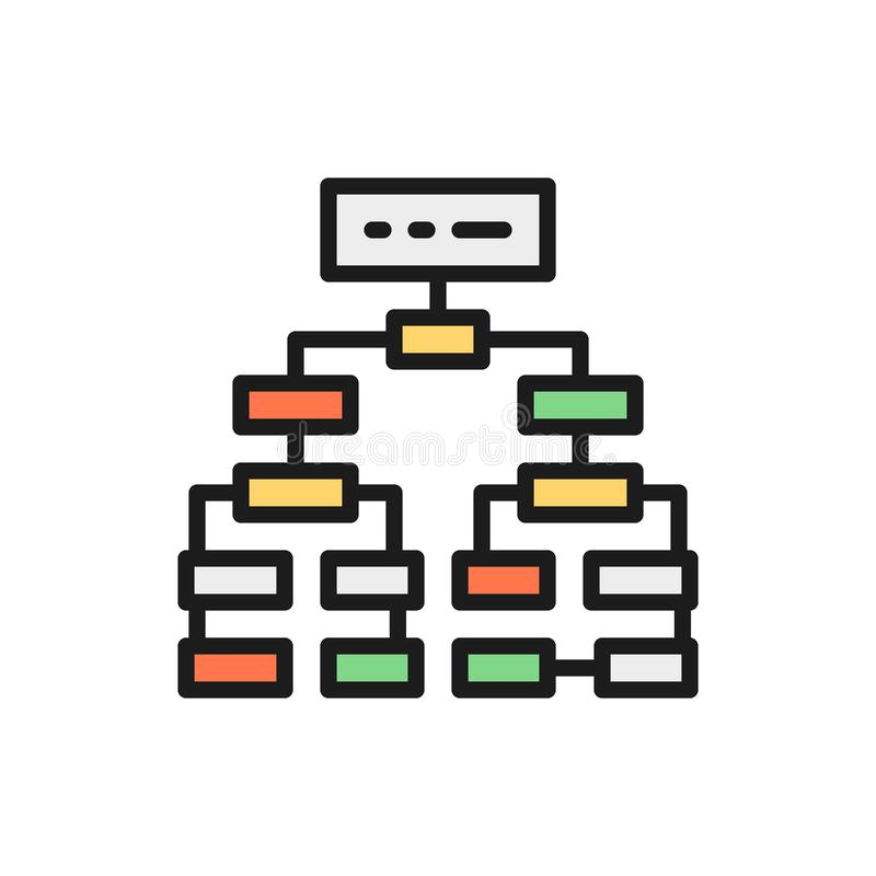 Program algorithm, flowchart plan, workflow mindmap flat color line icon. royalty free illustration