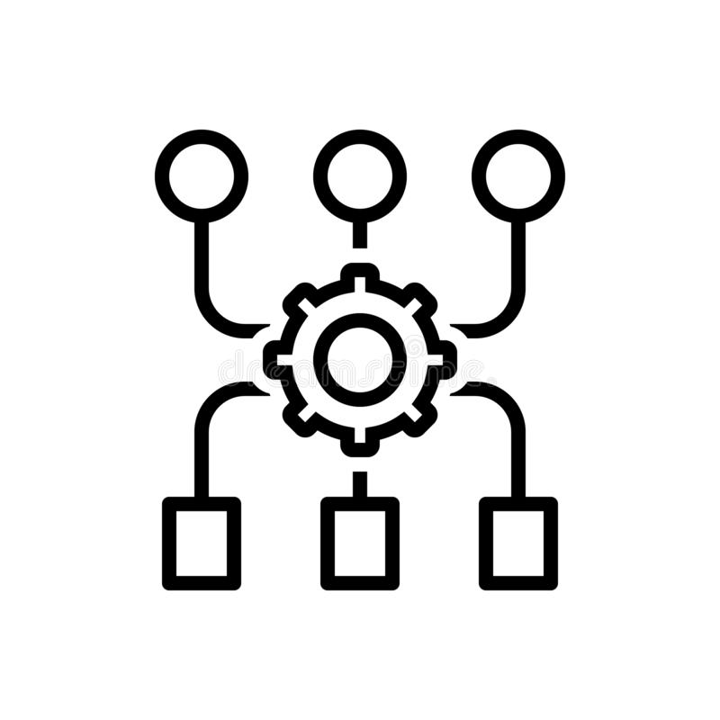 Black line icon for Program-Algorithm, access and application royalty free illustration