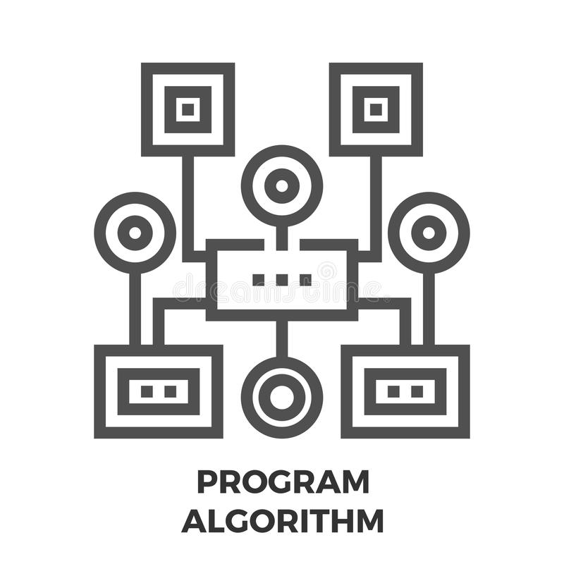 Program Algorithm Line Icon vector illustration