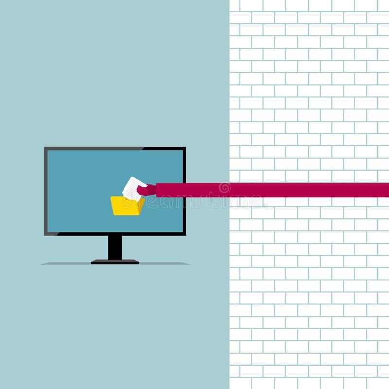 Program bug, hackers steal file data. stock illustration