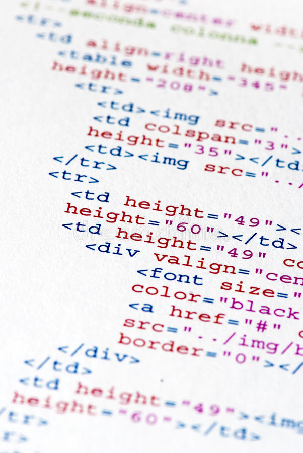 Program code. Close up of the HTML code page royalty free stock photos