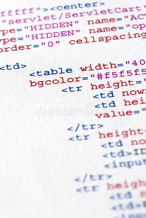Program code. Close up of the HTML code page royalty free stock photo