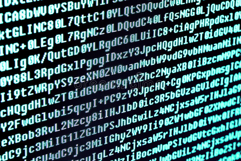 The program code on the computer screen. Macro. stock image
