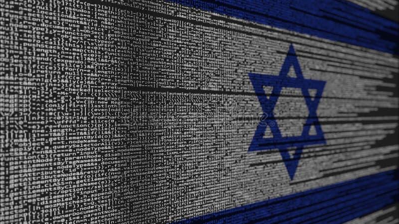 Program code and flag of Israel. Israeli digital technology or programming related 3D rendering. Source code and flag. Programming or digital technology related stock illustration