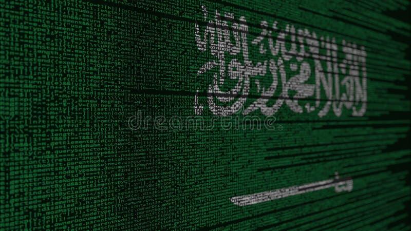 Program code and flag of Saudi Arabia. Digital technology or programming related 3D rendering. Source code and flag. Programming or digital technology related stock illustration
