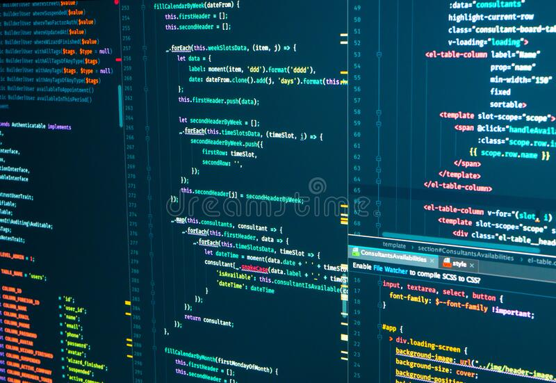 Program code Javascript, PHP, HTML, CSS of site. Web development. Programmer workflow. Source code script. Program code Javascript, PHP, HTML, CSS of site. Web royalty free stock image