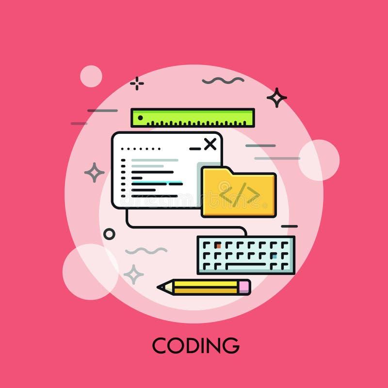 Program code window, keyboard, pencil, ruler and folder. royalty free illustration