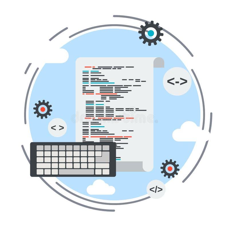 Program coding, application development, algorithm optimization concept stock illustration