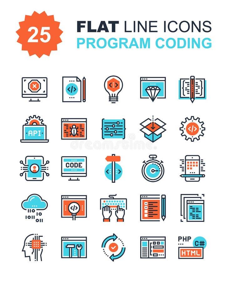 Program Coding Icons royalty free illustration
