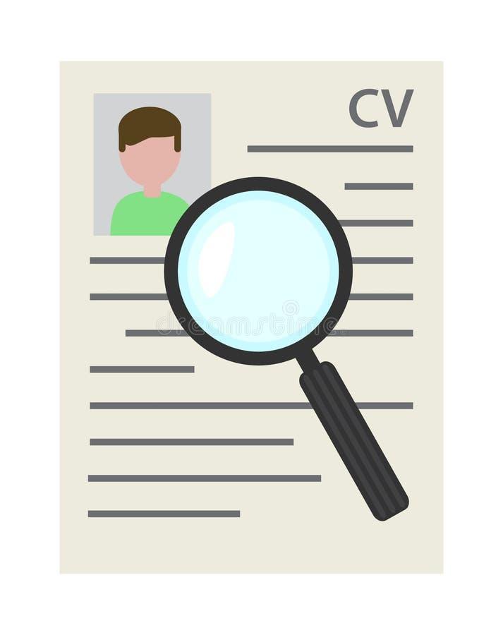 Program för rekryteringmeritförteckningCV - vitaedokument med seachmagni royaltyfri illustrationer