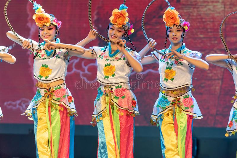 Qiao Hua Dan(TWO)-ale role in Chinese opera-Chinese classical dance. This program has successfully integrated the elements of Beijing opera art, and stock photo