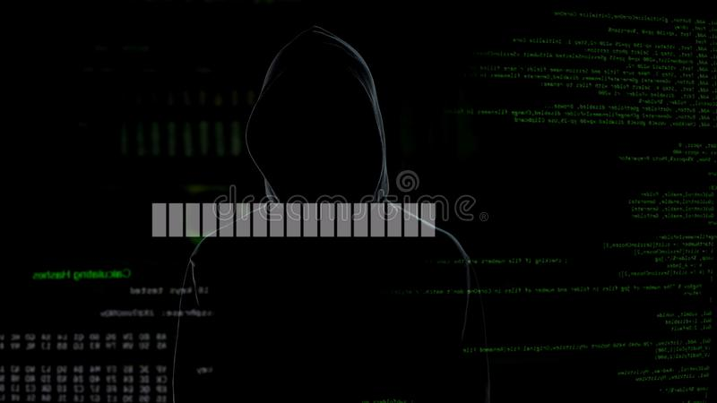 Program loading, criminal in hoodie waiting for server hacking, data breach. Stock photo stock photo