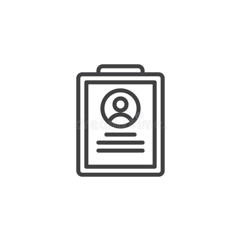 Program Nauczania - vitae rekrutacji linii ikona ilustracja wektor