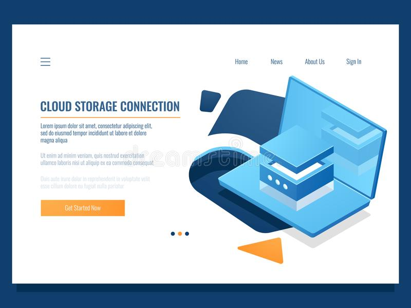 Program product development, programming and application creating, database and data center access, cloud storage stock illustration